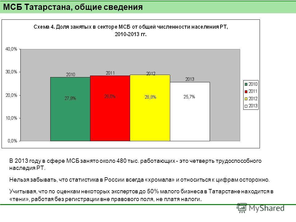 В 2013 году в сфере МСБ занято около 480 тыс. работающих - это четверть трудоспособного наследия РТ. Нельзя забывать, что статистика в России всегда «хромала» и относиться к цифрам осторожно. Учитывая, что по оценкам некоторых экспертов до 50% малого