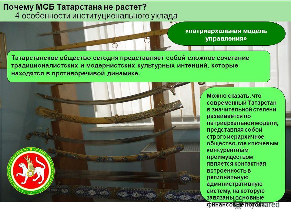 Почему МСБ Татарстана не растет? 4 особенности институционального уклада «патриархальная модель управления» Татарстанское общество сегодня представляет собой сложное сочетание традиционалистских и модернистских культурных интенций, которые находятся