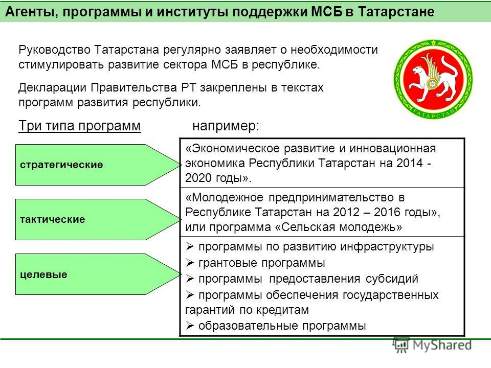 Руководство Татарстана регулярно заявляет о необходимости стимулировать развитие сектора МСБ в республике. Декларации Правительства РТ закреплены в текстах программ развития республики. Три типа программ например: Агенты, программы и институты поддер
