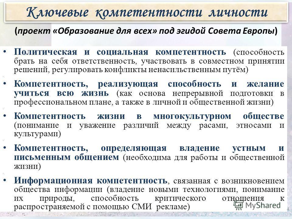 (проект «Образование для всех» под эгидой Совета Европы) Политическая и социальная компетентность (способность брать на себя ответственность, участвовать в совместном принятии решений, регулировать конфликты ненасильственным путём) Компетентность, ре