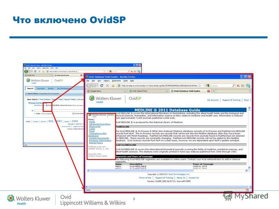 9 Что включено OvidSP