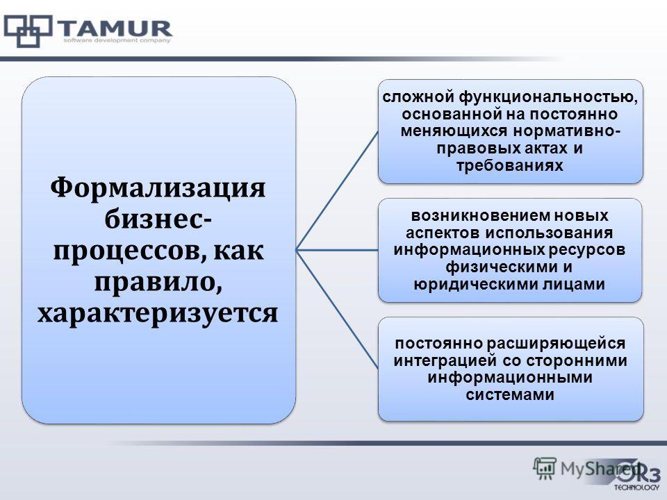 Формализация бизнес- процессов, как правило, характеризуется сложной функциональностью, основанной на постоянно меняющихся нормативно- правовых актах и требованиях возникновением новых аспектов использования информационных ресурсов физическими и юрид