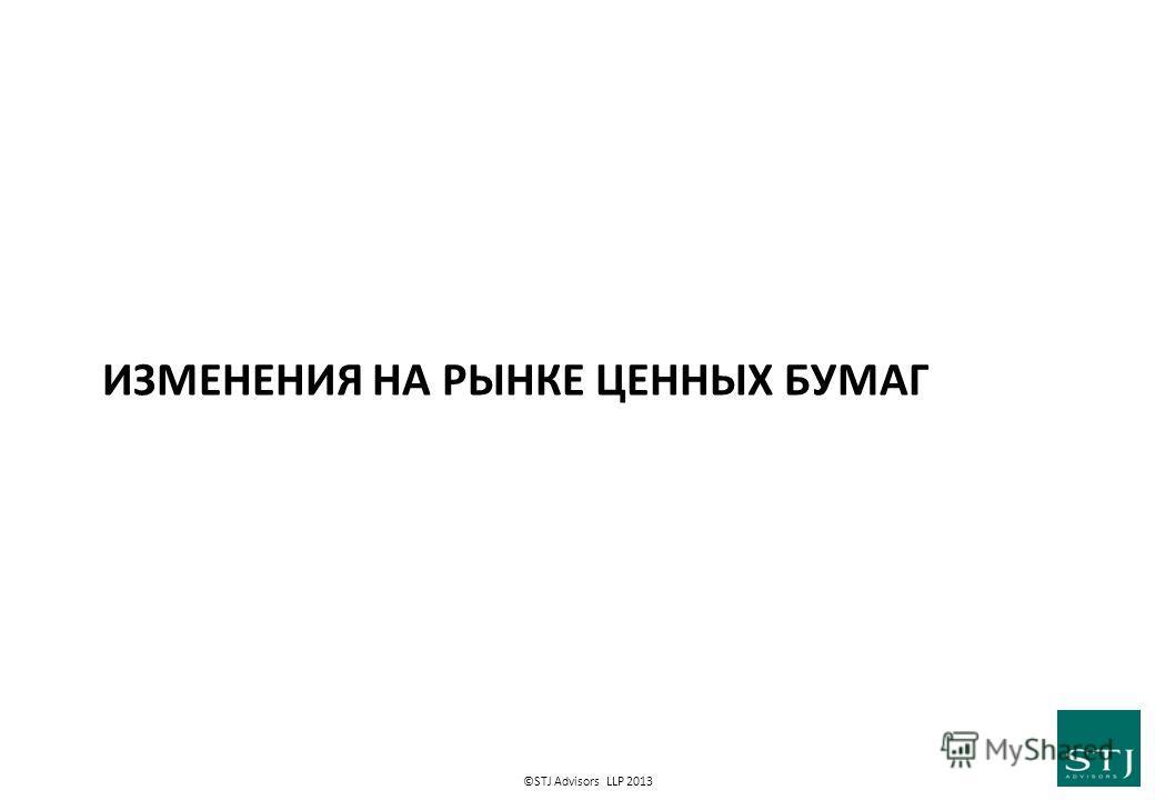 ©STJ Advisors LLP 2013 ИЗМЕНЕНИЯ НА РЫНКЕ ЦЕННЫХ БУМАГ