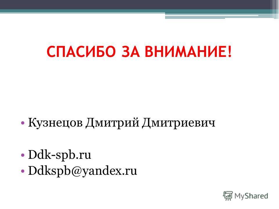 СПАСИБО ЗА ВНИМАНИЕ! Кузнецов Дмитрий Дмитриевич Ddk-spb.ru Ddkspb@yandex.ru