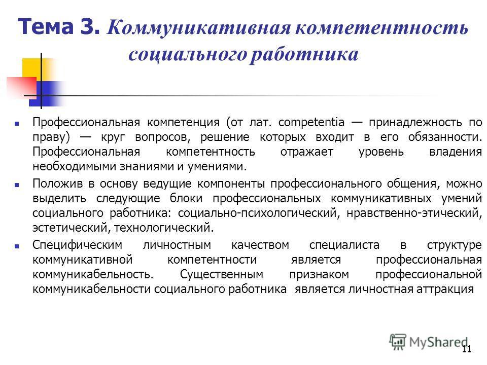 11 Тема 3. Коммуникативная компетентность социального работника Профессиональная компетенция (от лат. competentia принадлежность по праву) круг вопросов, решение которых входит в его обязанности. Профессиональная компетентность отражает уровень влад