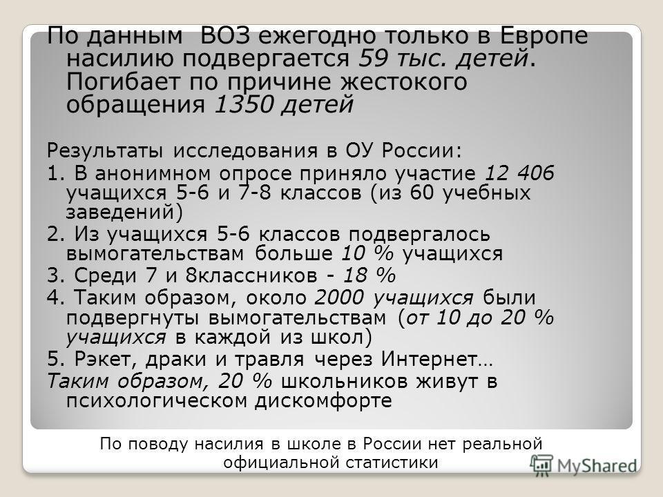 По данным ВОЗ ежегодно только в Европе насилию подвергается 59 тыс. детей. Погибает по причине жестокого обращения 1350 детей Результаты исследования в ОУ России: 1. В анонимном опросе приняло участие 12 406 учащихся 5-6 и 7-8 классов (из 60 учебных