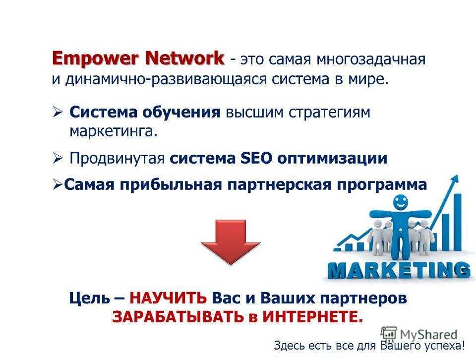 Empower Network Empower Network - это самая многозадачная и динамично-развивающаяся система в мире. Система обучения высшим стратегиям маркетинга. Продвинутая система SEO оптимизации Самая прибыльная партнерская программа Цель – НАУЧИТЬ Вас и Ваших п