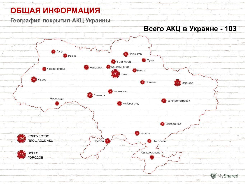 ОБЩАЯ ИНФОРМАЦИЯ География покрытия АКЦ Украины Всего АКЦ в Украине - 103