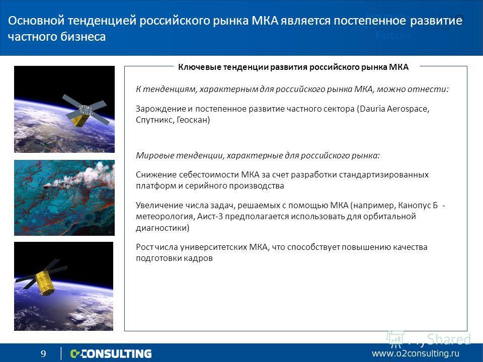 9 К тенденциям, характерным для российского рынка МКА, можно отнести: Зарождение и постепенное развитие частного сектора (Dauria Aerospace, Спутникс, Геоскан) Мировые тенденции, характерные для российского рынка: Снижение себестоимости МКА за счет ра