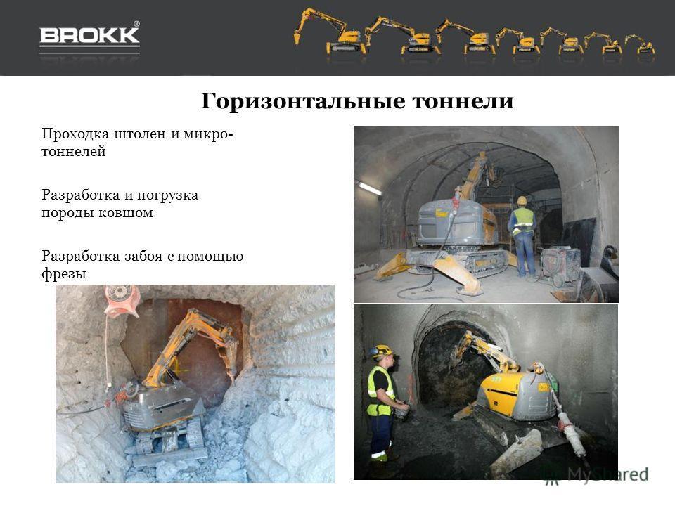 Горизонтальные тоннели Проходка штолен и микро- тоннелей Разработка и погрузка породы ковшом Разработка забоя с помощью фрезы