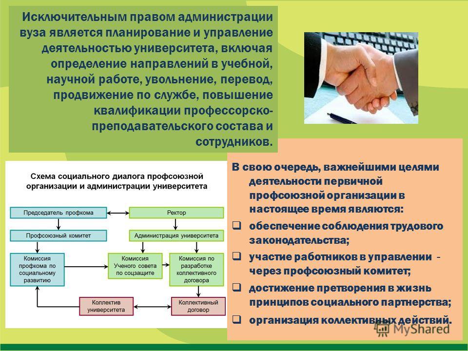 В свою очередь, важнейшими целями деятельности первичной профсоюзной организации в настоящее время являются: обеспечение соблюдения трудового законодательства; участие работников в управлении - через профсоюзный комитет; достижение претворения в жизн