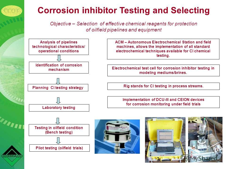 Corrosion inhibitor Testing and Selecting Objective – Selection of effective chemical reagents for protection of oilfield pipelines and equipment Analysis of pipelines technological characteristics/ operational conditions Identification of corrosion