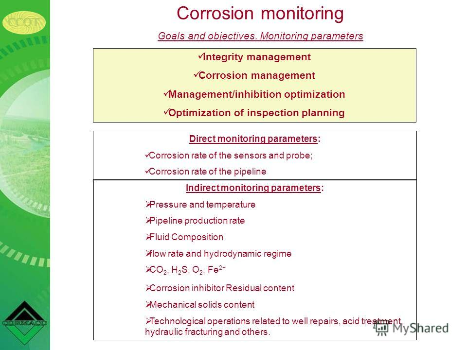 Corrosion monitoring Goals and objectives. Monitoring parameters Integrity management Corrosion management Management/inhibition optimization Optimization of inspection planning Direct monitoring parameters: Corrosion rate of the sensors and probe; C