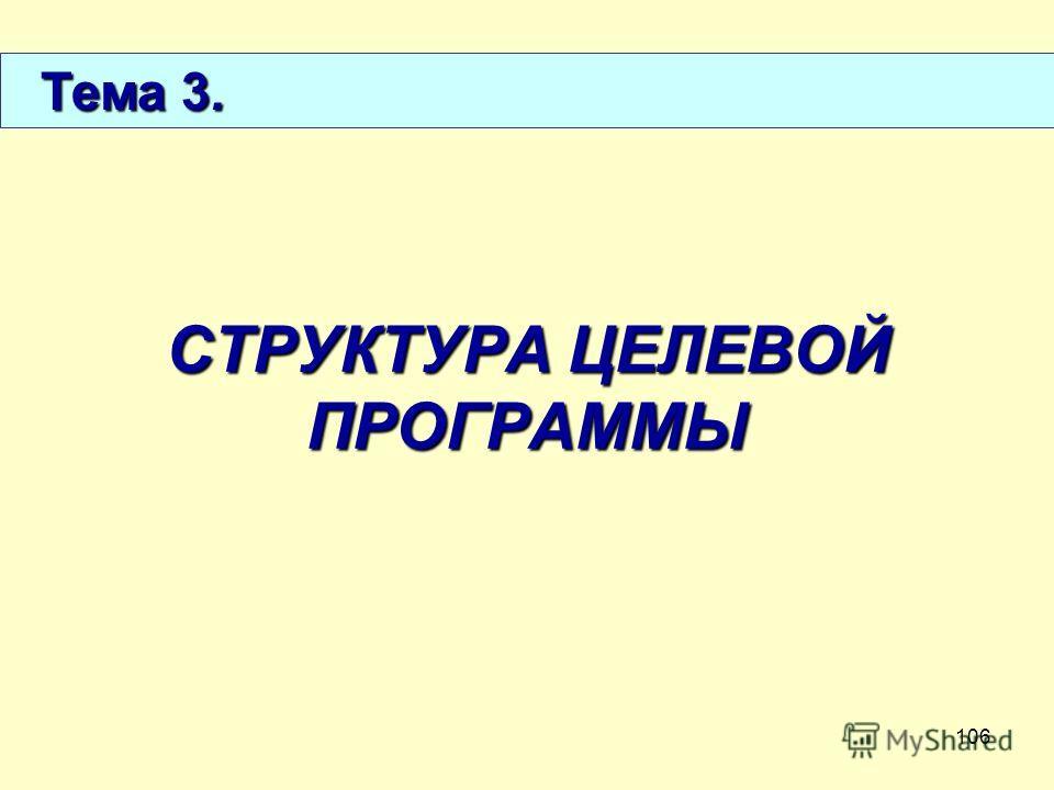 106 СТРУКТУРА ЦЕЛЕВОЙ ПРОГРАММЫ Тема 3. Тема 3.