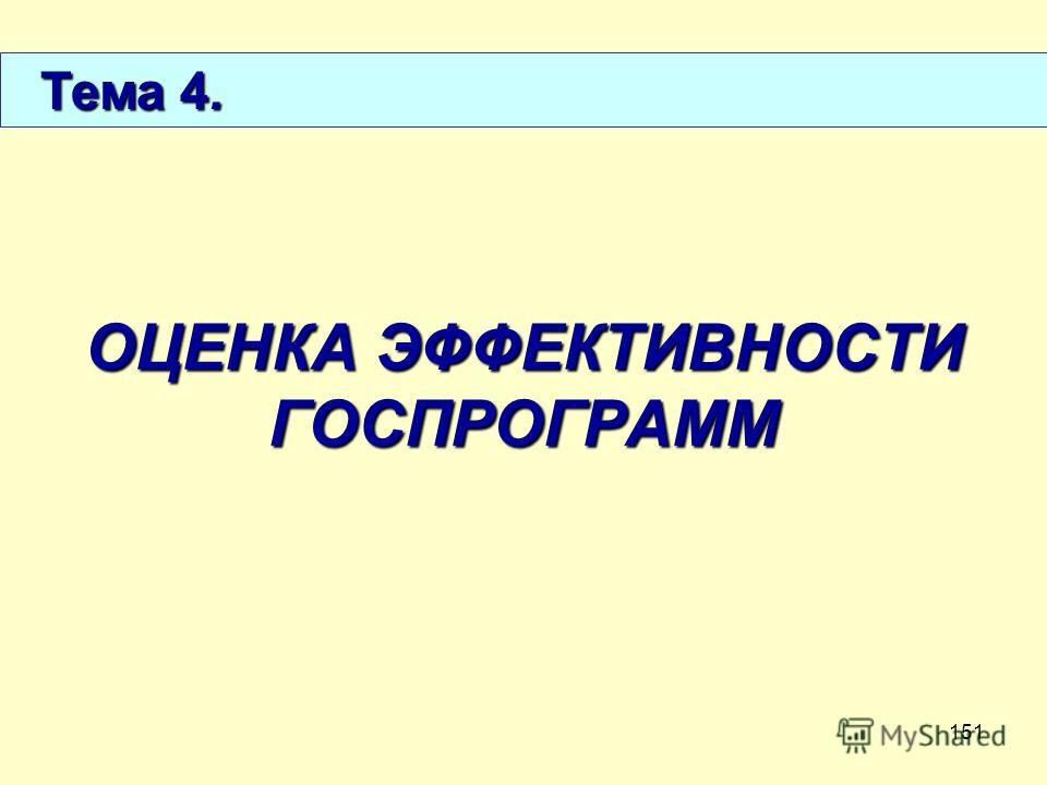 151 ОЦЕНКА ЭФФЕКТИВНОСТИ ГОСПРОГРАММ Тема 4. Тема 4.