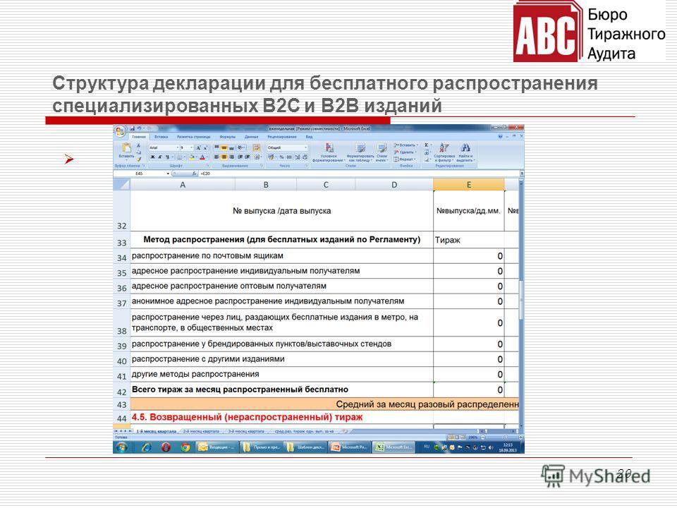 20 Структура декларации для бесплатного распространения специализированных В2С и В2В изданий