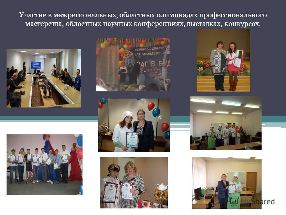 Участие в межрегиональных, областных олимпиадах профессионального мастерства, областных научных конференциях, выставках, конкурсах.