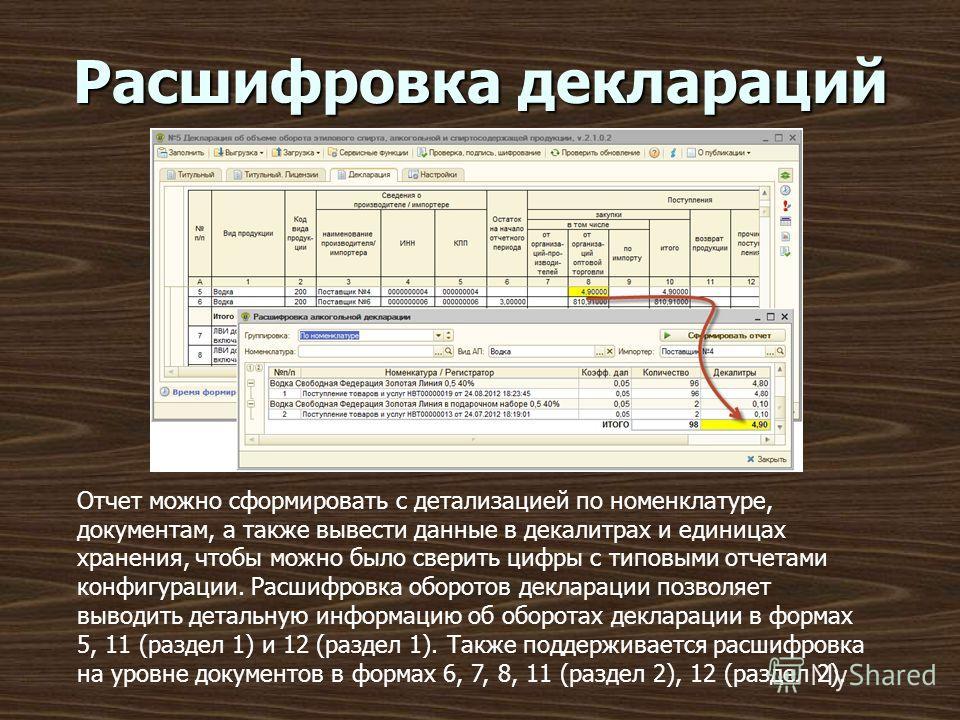 Расшифровка деклараций Отчет можно сформировать с детализацией по номенклатуре, документам, а также вывести данные в декалитрах и единицах хранения, чтобы можно было сверить цифры с типовыми отчетами конфигурации. Расшифровка оборотов декларации позв