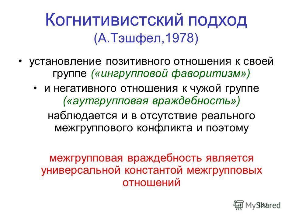 180 Когнитивистский подход (А.Тэшфел,1978) установление позитивного отношения к своей группе («ингрупповой фаворитизм») и негативного отношения к чужой группе («аутгрупповая враждебность») наблюдается и в отсутствие реального межгруппового конфликта
