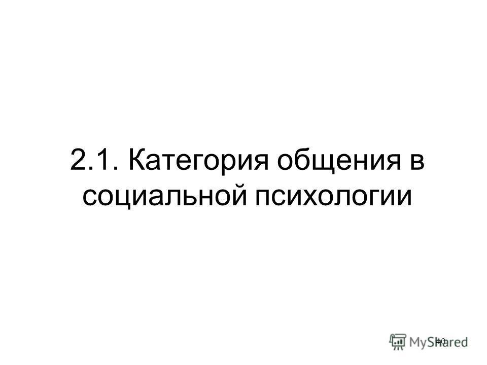40 2.1. Категория общения в социальной психологии