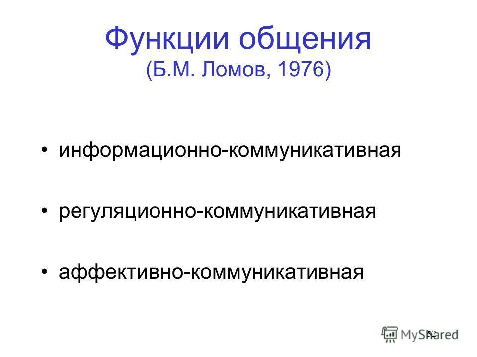 52 Функции общения (Б.М. Ломов, 1976) информационно-коммуникативная регуляционно-коммуникативная аффективно-коммуникативная