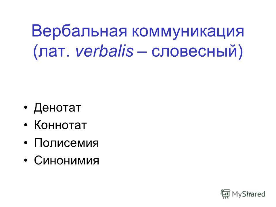 69 Вербальная коммуникация (лат. verbalis – словесный) Денотат Коннотат Полисемия Синонимия
