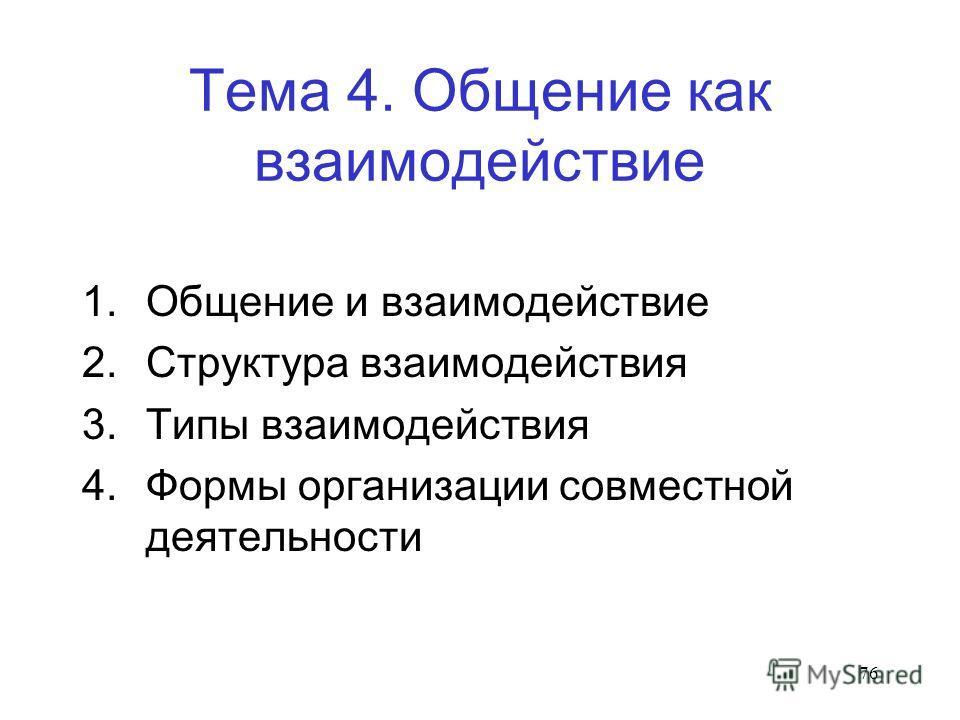 76 Тема 4. Общение как взаимодействие 1. Общение и взаимодействие 2. Структура взаимодействия 3. Типы взаимодействия 4. Формы организации совместной деятельности