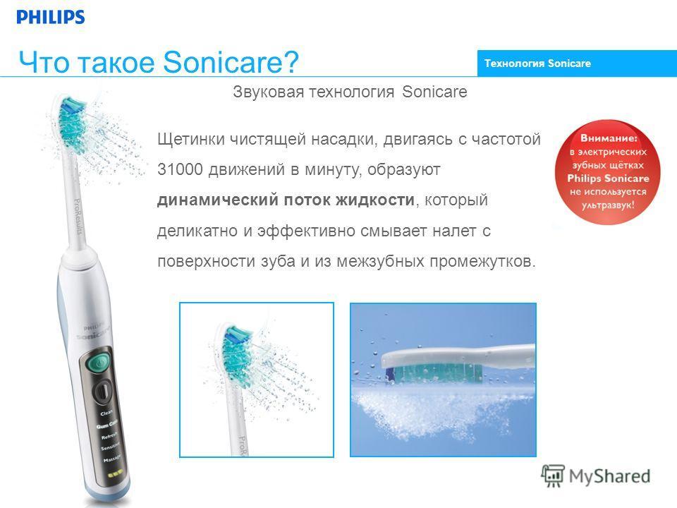 Звуковая технология Sonicare Щетинки чистящей насадки, двигаясь с частотой 31000 движений в минуту, образуют динамический поток жидкости, который деликатно и эффективно смывает налет с поверхности зуба и из межзубных промежутков. Что такое Sonicare?