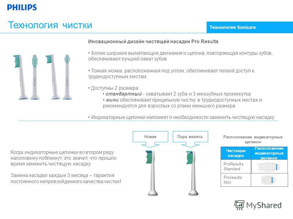 Технология чистки Иновационный дизайн чистящей насадки Pro Results Более широкие выметающие движения и щетина, повторяющая контуры зубов, обеспечивают лучший охват зубов Тонкая ножка, расположенная под углом, обеспечивает легкий доступ к труднодоступ