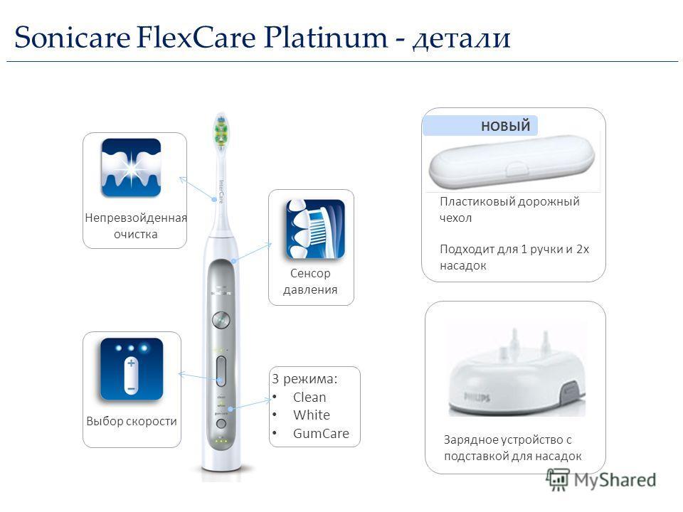 Sonicare FlexCare Platinum - детали Подходит для 1 ручки и 2x насадок Пластиковый дорожный чехол НОВЫЙ Зарядное устройство с подставкой для насадок Непревзойденная очистка Сенсор давления 3 режима: Clean White GumCare Выбор скорости