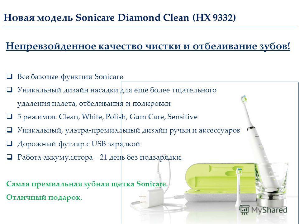 Новая модель Sonicare Diamond Clean (НХ 9332) Все базовые функции Sonicare Уникальный дизайн насадки для ещё более тщательного удаления налета, отбеливания и полировки 5 режимов: Clean, White, Polish, Gum Care, Sensitive Уникальный, ультра-премиальны