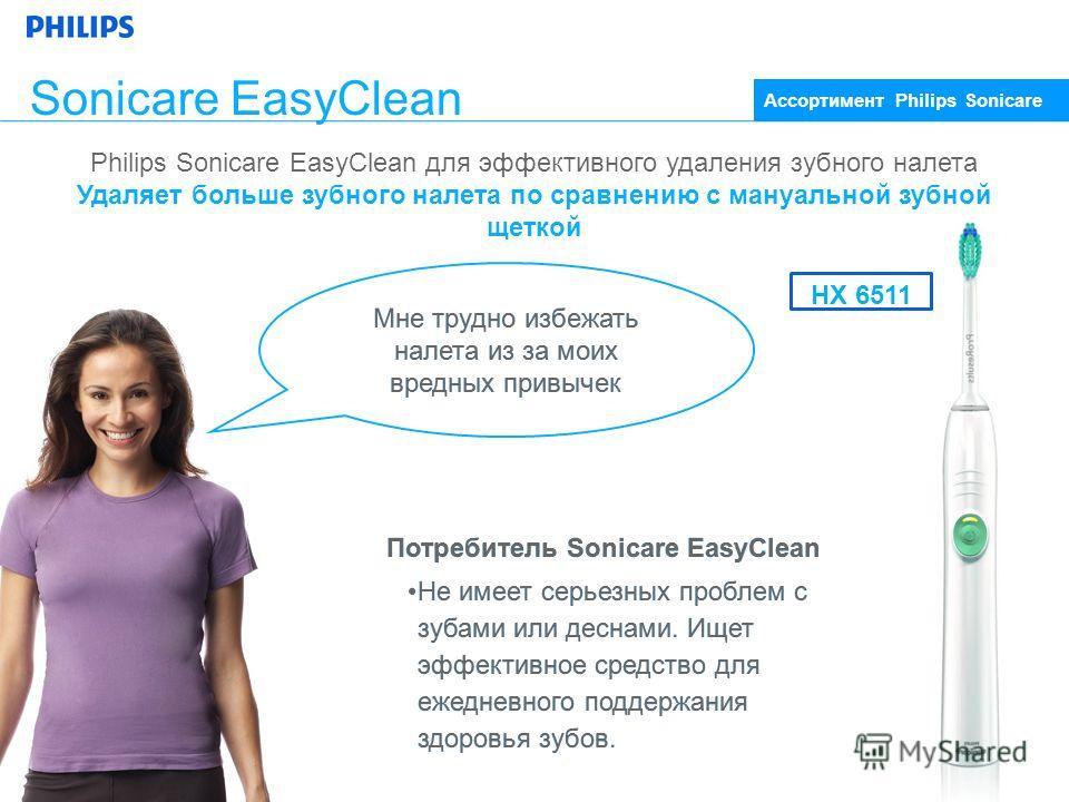 Потребитель Sonicare EasyClean Не имеет серьезных проблем с зубами или деснами. Ищет эффективное средство для ежедневного поддержания здоровья зубов. Потребитель Sonicare EasyClean Не имеет серьезных проблем с зубами или деснами. Ищет эффективное сре