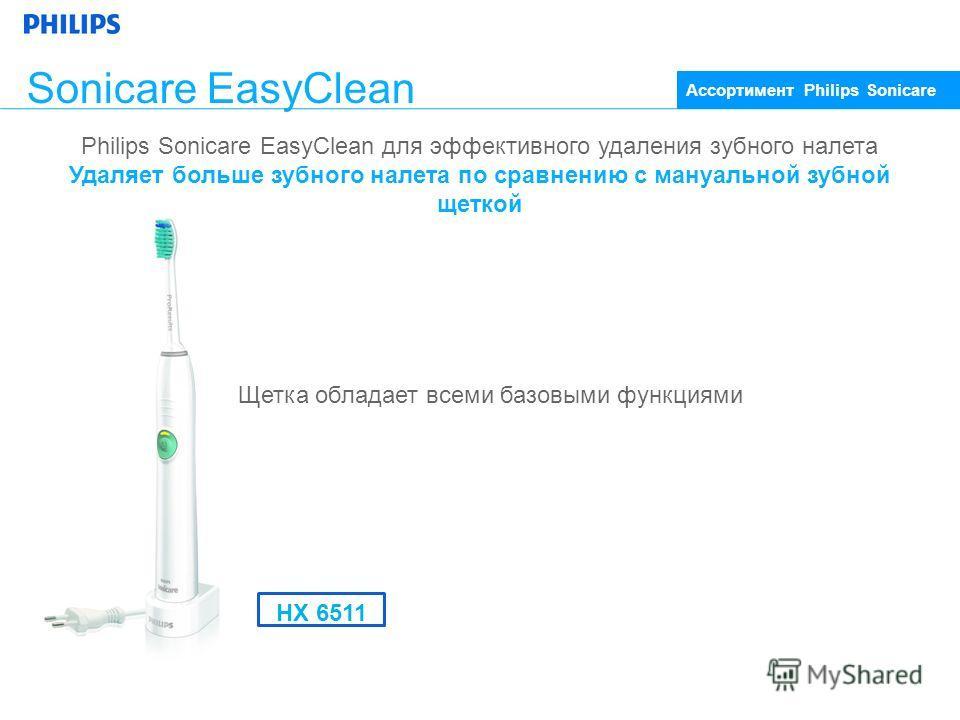 Sonicare EasyClean Щетка обладает всеми базовыми функциями Ассортимент Philips Sonicare Philips Sonicare EasyClean для эффективного удаления зубного налета Удаляет больше зубного налета по сравнению с мануальной зубной щеткой HX 6511