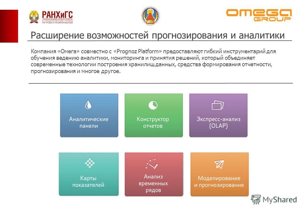 Расширение возможностей прогнозирования и аналитики Компания «Омега» совместно с «Prognoz Platform» предоставляют гибкий инструментарий для обучения ведению аналитики, мониторинга и принятия решений, который объединяет современные технологии построен