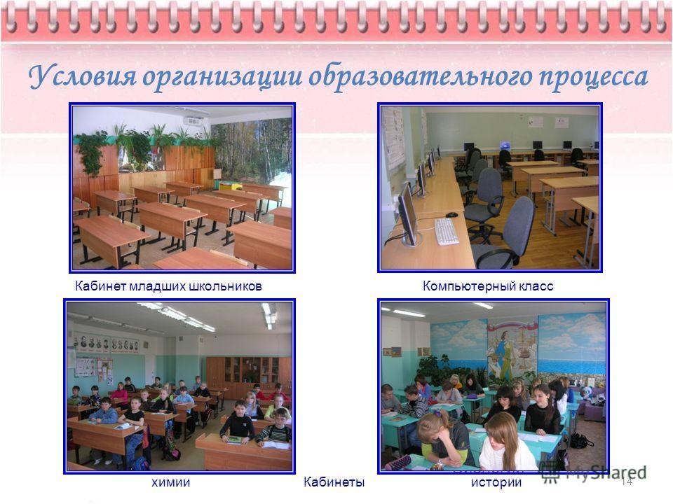 Условия организации образовательного процесса 14 Кабинет младших школьников Компьютерный класс Кабинеты Биологии химииистории