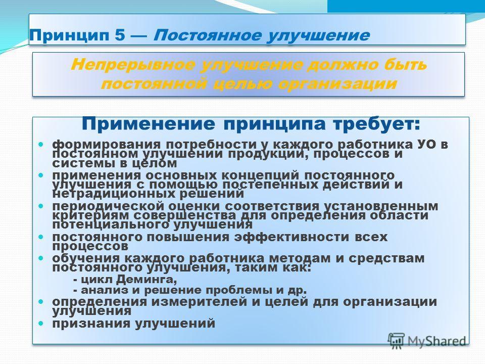 Принцип 5 Постоянное улучшение Применение принципа требует: формирования потребности у каждого работника УО в постоянном улучшении продукции, процессов и системы в целом применения основных концепций постоянного улучшения с помощью постепенных действ