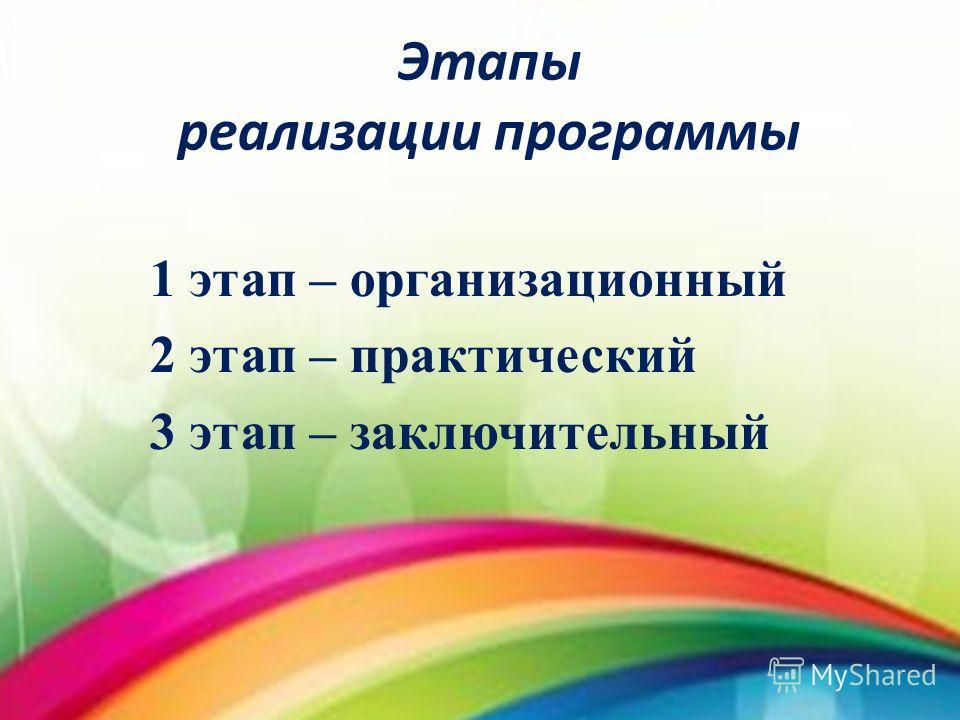 Этапы реализации программы 1 этап – организационный 2 этап – практический 3 этап – заключительный