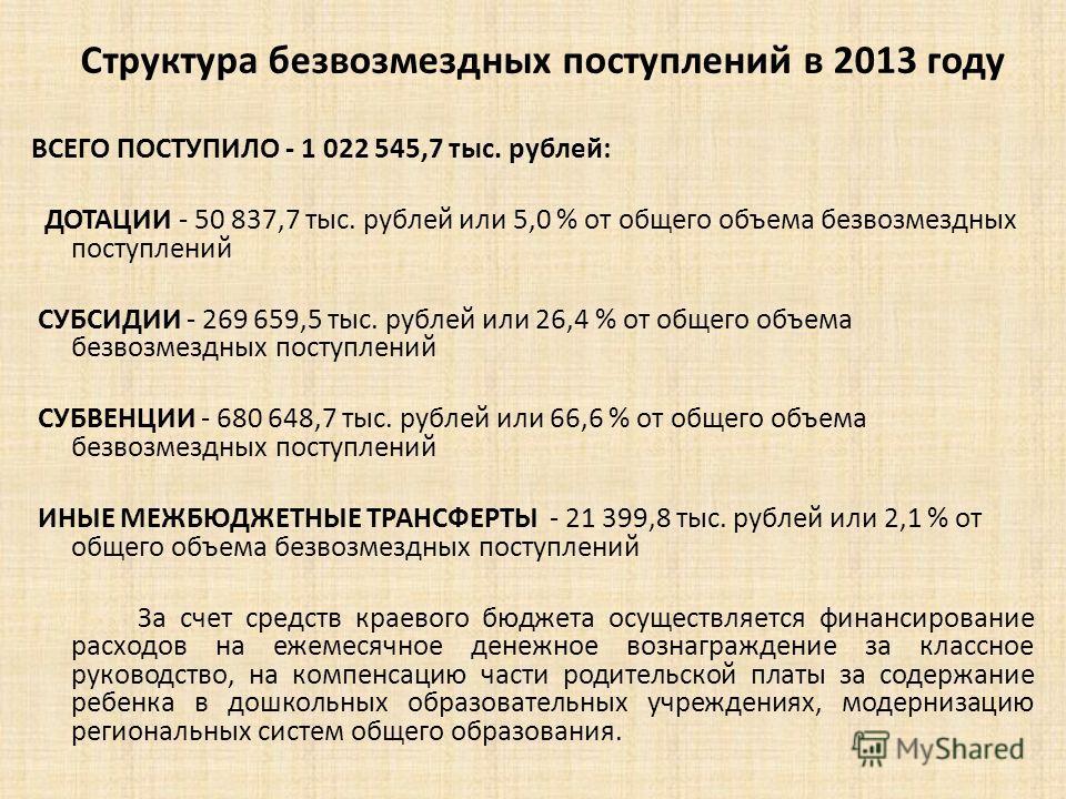 Структура безвозмездных поступлений в 2013 году ВСЕГО ПОСТУПИЛО - 1 022 545,7 тыс. рублей: ДОТАЦИИ - 50 837,7 тыс. рублей или 5,0 % от общего объема безвозмездных поступлений СУБСИДИИ - 269 659,5 тыс. рублей или 26,4 % от общего объема безвозмездных