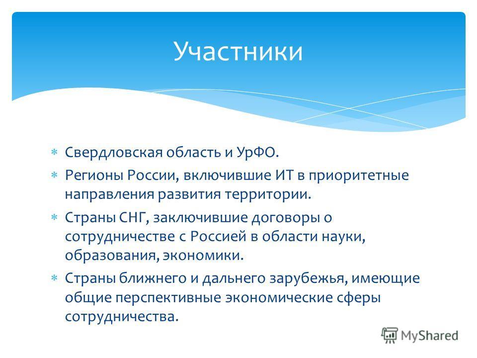Свердловская область и УрФО. Регионы России, включившие ИТ в приоритетные направления развития территории. Страны СНГ, заключившие договоры о сотрудничестве с Россией в области науки, образования, экономики. Страны ближнего и дальнего зарубежья, имею