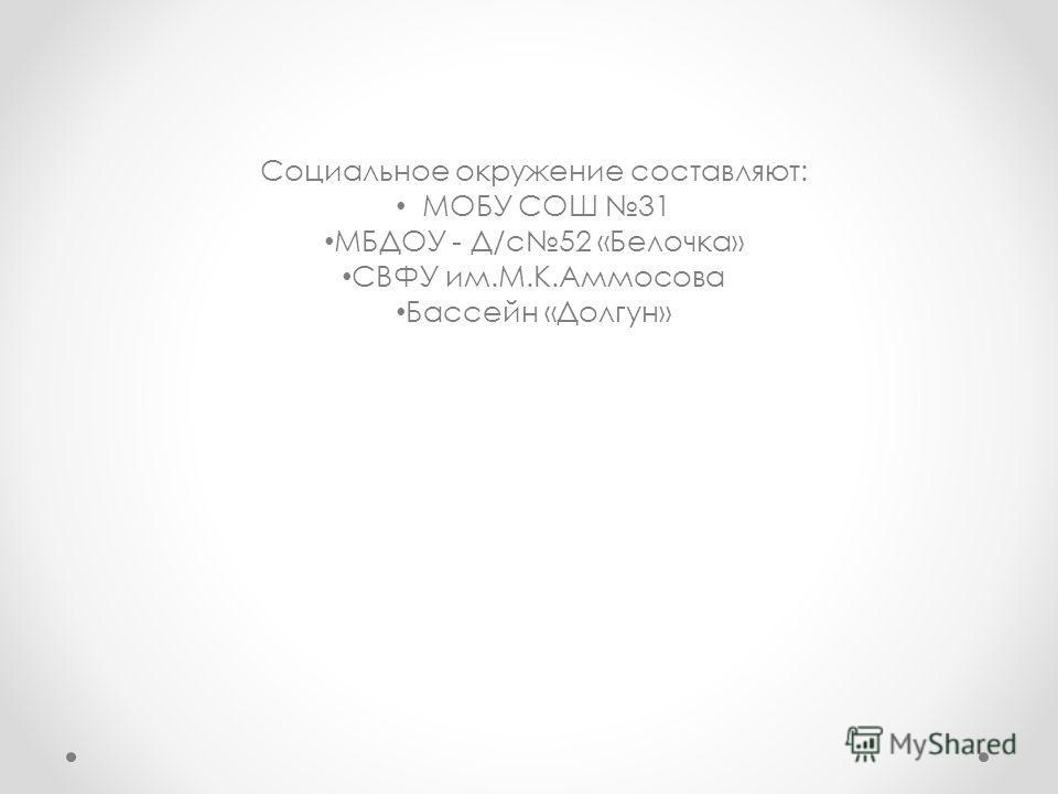 Социальное окружение составляют: МОБУ СОШ 31 МБДОУ - Д/с 52 «Белочка» СВФУ им.М.К.Аммосова Бассейн «Долгун»