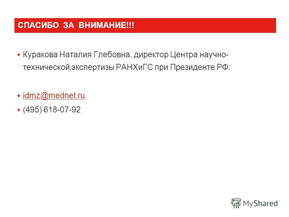 СПАСИБО ЗА ВНИМАНИЕ!!! Куракова Наталия Глебовна, директор Центра научно- технической экспертизы РАНХиГС при Президенте РФ: idmz@mednet.ru (495) 618-07-92