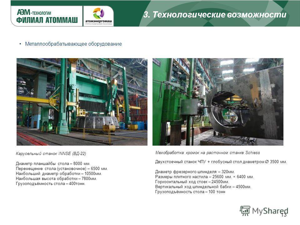 3. Технологические возможности 13 Металлообрабатывающее оборудование Карусельный станок INNSE (ВД-22) Диаметр планшайбы стола – 8000 мм. Перемещение стола (установочное) – 6500 мм. Наибольший диаметр обработки – 10500 мм. Наибольшая высота обработки