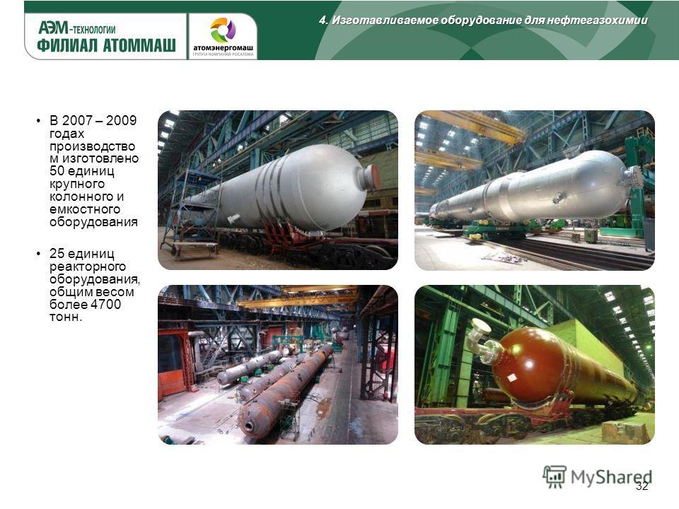 32 В 2007 – 2009 годах производство м изготовлено 50 единиц крупного колонного и емкостного оборудования 25 единиц реакторного оборудования, общим весом более 4700 тонн. 4. Изготавливаемое оборудование для нефтегазохимии