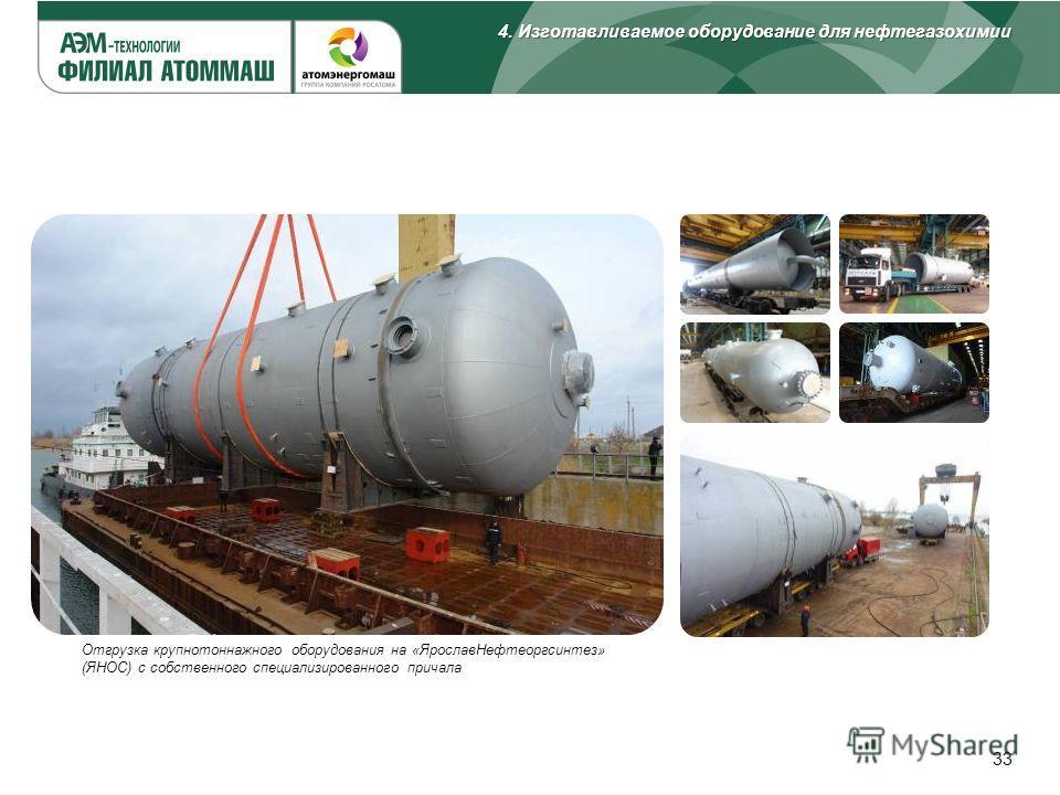 33 Отгрузка крупнотоннажного оборудования на «Ярослав Нефтеоргсинтез» (ЯНОС) с собственного специализированного причала 4. Изготавливаемое оборудование для нефтегазохимии
