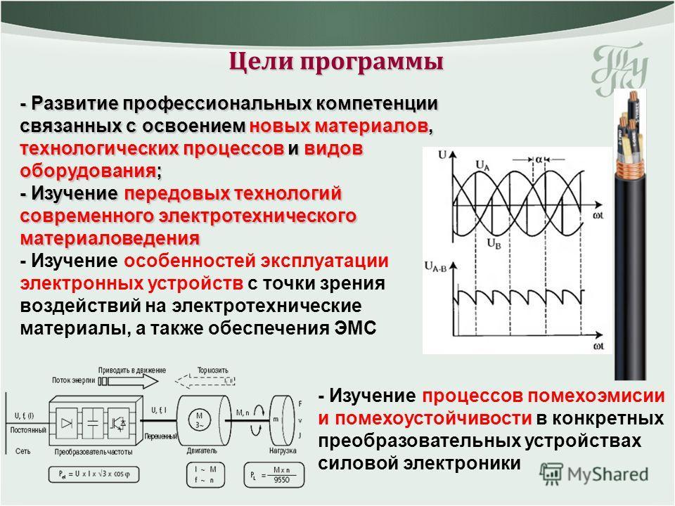 Цели программы - Изучение процессов помехоэмисии и помехоустойчивости в конкретных преобразовательных устройствах силовой электроники - Развитие профессиональных компетенции связанных с освоением новых материалов, технологических процессов и видов об