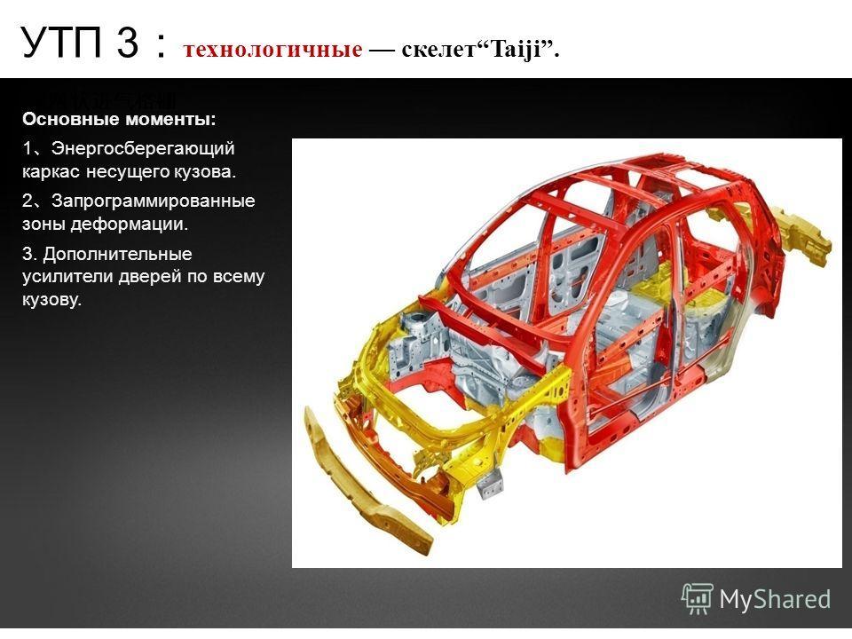 Основные моменты: 1 Энергосберегающий каркас несущего кузова. 2 Запрограммированные зоны деформации. 3. Дополнительные усилители дверей по всему кузову. УТП 3 технологичные скелетTaiji.