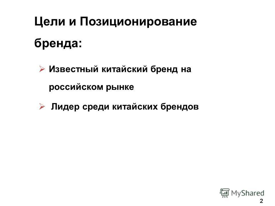Известный китайский бренд на российском рынке Лидер среди китайских брендов 2 Цели и Позиционирование бренда: