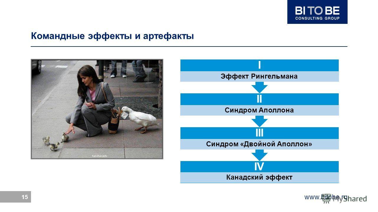 www.bitobe.ru 15 Командные эффекты и артефакты IV Канадский эффект III Синдром «Двойной Аполлон» II Синдром Аполлона I Эффект Рингельмана