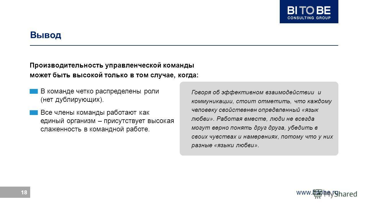 www.bitobe.ru 18 Вывод Производительность управленческой команды может быть высокой только в том случае, когда: В команде четко распределены роли (нет дублирующих). Все члены команды работают как единый организм – присутствует высокая слаженность в к