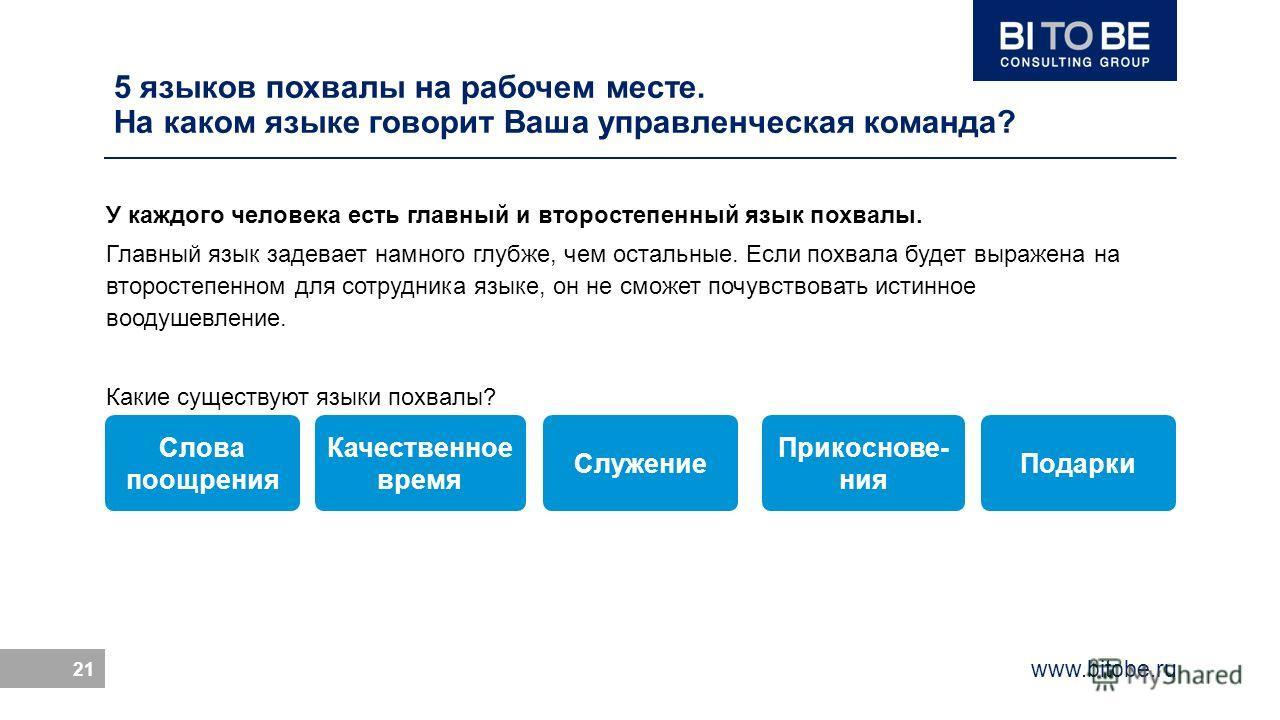 www.bitobe.ru 21 5 языков похвалы на рабочем месте. На каком языке говорит Ваша управленческая команда? У каждого человека есть главный и второстепенный язык похвалы. Главный язык задевает намного глубже, чем остальные. Если похвала будет выражена на